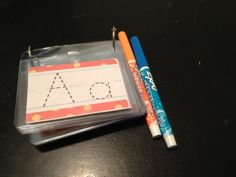 Dry erase markers with traceable letters. Great for restaurants or for on the go.