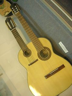 Dual neck acoustic charango and guitar