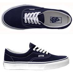 Vans Era Navy ❤ liked on Polyvore