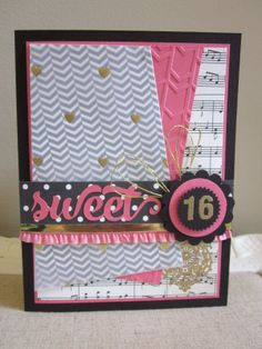 Handmade sweet 16 birthday card girls 16th birthday card teen i have a fun card to share with you today i know that i told you a while ago that there would be a lot of sweet 16 card bookmarktalkfo Images