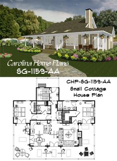 Cottage style home plan with split bedroom layout, open floor plan and wrap-around porch is the larger version of Small Cottage House Plans, 3d House Plans, Porch House Plans, Cottage Style Homes, Bedroom House Plans, Affordable House Plans, Floor Plan Layout, Bedroom Layouts, Open Floor