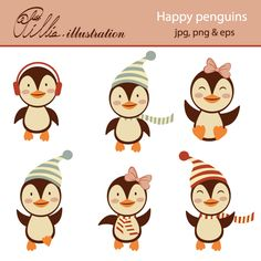 This Happy penguins set clipart comes with 6 clipart graphics featuring 6 adorable penguin characters.