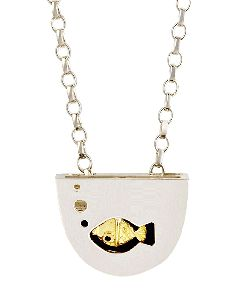 When this pendant is being worn, your movement will cause a little 18ct gold fish jump out of the bowl... and dive back in and around again. (Really!!)