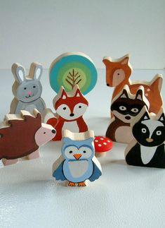 jouets bois, les animaux forestiers