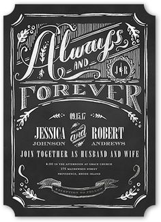 Always & Forever Wedding Invitation, Ticket Corners, Grey