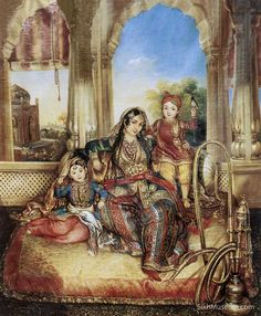 Fezli Azam Joo, wife of General Court. Artist: August Schoefft, ca.1841, Lahore, oil on canvas, 89.5 x 70.5 cm. General Court was one of the leading European officers in the Khalsa Army of Maharaja Ranjit Singh. From the SikhMuseum.com Exhibit - The Maharaja in the Guru's Darbar