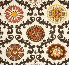 modern print shades of orange grey brown fabric by the yard premium wide cotton - Home Decor Fabrics By The Yard