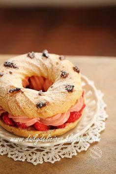 dailydelicious: Strawberry Paris-Brest: Tangy sweet dessert