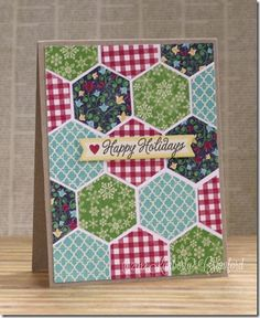 scrapbook cards card making Card Making Inspiration, Making Ideas, Patchwork Cards, Hexagon Cards, Paper Quilt, Card Patterns, Winter Cards, Card Sketches, Creative Cards