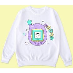 KAWAII-Tamagotchi jumper ($35) ❤ liked on Polyvore featuring tops, sweaters, jumpers sweaters and jumper tops