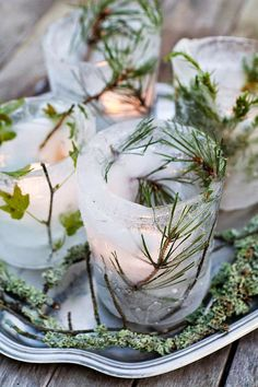 Ice votives for outdoor parties Outdoor Parties, Green Christmas, Modern Christmas, Christmas Home, Christmas Holidays, Christmas Crafts, Yule Decorations, Decoration Noel, Christmas Decorations