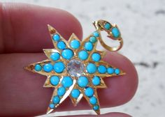 Victorian 10kt Gold Persian Turquoise and Diamond Pendant