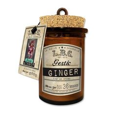 L.B.C Corked Lovlies 4.5oz Gestic Ginger Unique Candles, Candle Jars, Cork, Gift, Candle Mason Jars, Corks, Gifts, Presents