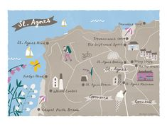 Melanie Chadwick's unique colour palette in this map of St. Agnes, Cornwall takes you to sites including St. Agnes Head, Trevaunance cove and the Driftwood Spars - making a great gift for lovers and visitors of St. Cornwall Map, Penzance Cornwall, St Agnes, Northern Italy, Freelance Illustrator, Unique Colors, Paris France, Places To Go, Saints