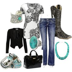 Turquoise Chic #countrygirl #countryoutfit #countryfashion For more Cute n' Country visit: www.cutencountry.com and www.facebook.com/cuteandcountry