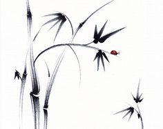 Hermoso día - Original tinta Sumie pintura bambú y mariquita