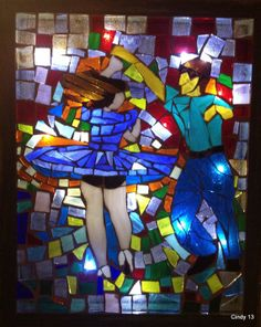Salsa Dancers made of hand cut stained glass mosaicon the door of a shadow box, when LED are  lighted becomes a beautiful translucent  scene on Etsy, $250.00