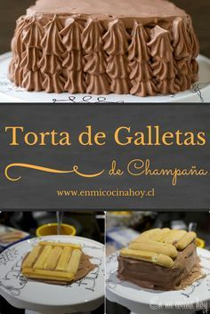 La torta de galletas de champaña es una opción rápida y deliciosa para los cumpleaños. Favorita de los niños. También puedes montarla con crema y frutillas. My Recipes, Sweet Recipes, Healthy Fridge, Chilean Recipes, Biscuits, Friend Recipe, Icebox Cake, English Food, Food Humor