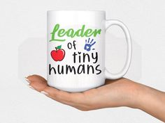 Leader of Tiny Humans 15 oz Mug Coffee Lover Preschool Coffee Lover Gifts, Cat Lover Gifts, Gifts In A Mug, Coffee Cup Sharpie, Iced Coffee, Preschool Teacher Gifts, Funny Coffee Cups, Diy Crafts To Do, Coffee Humor