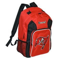 Haul your gear with style with this awesome backpack from the Tampa Bay Buccaneers, with an embroidered logo and felt applique team emblem on the back. Officially licensed by the NFL, it features a spacious main compartment, padded adjustable back straps, large zippered back pouch with inner pockets, two mesh side pouches and durable nylon construction for quality function and comfort. Height: 16 inches Width: 12 inches Depth: 5 inches