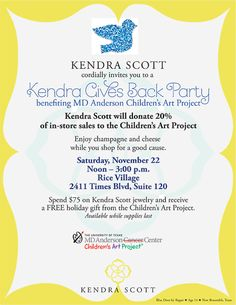 MARK YOU CALENDARS! Join us in making life better for children with cancer at another great event on November 22 with Kendra Scott Jewelry in Rice Village - Houston! @kendra_scott