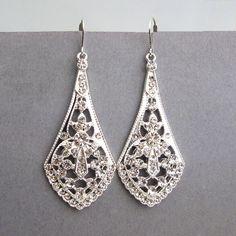 Art Deco Style Silver Filigree Bridal Earrings, Bridal Chandelier Earrings, Vintage Style Rhinestone Wedding Earrings, Bridal Jewelry, ANYA