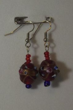 Red Glass Earrings Lampworked Beads Stocking by BrigidsHumor, $4.50