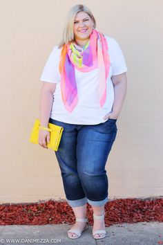 danimezza kmartstyling plus size outfit blogger white tee top denim scarf neon yellow clutch studded blonde curvy KMART 2
