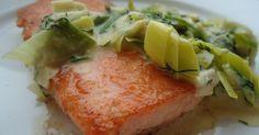 Veldig enkelt og veldig godt. Til to personer trenger du : 2 laksefileter a 180 g olivenolje smør 1 purreløk - skiver/ringer...