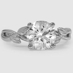 Platinum Budding Willow Ring // Set with a 1.8 Carat, Round, Super Ideal Cut, H Color, VVS2 Clarity Diamond #BrilliantEarth