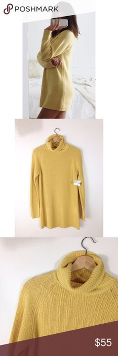 Chunky Sweater Dress Trendy yellow chunky sweater dress with cowl neck. Size Small. Medium weight. NWT. I'm 5'8 for reference! Anthropologie Sweaters Cowl & Turtlenecks