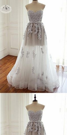 2018 Sweetheart Floor-Length Ivory Tulle Prom Dress with Appliques,Evening Party Dresses,PDY0312#prom dresses#
