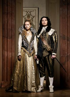 Alexandra Dowling as Queen Anne and Ryan Gage as King Louis in The Musketeers Season 2 Bbc Musketeers, The Three Musketeers, Ryan Gage, Historical Clothing, Historical Costume, Roi Louis, Queen Anne, King Queen, Bbc One