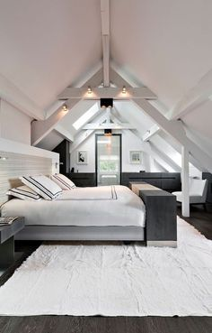 44 Glamorous Loft Style Bedroom Designs Ideas To Try Right Now - Do you want to extend the living capacity of your home, then why not convert your loft space into a bedroom? Bedroom loft conversions are becoming the. Loft Style Bedroom, Attic Master Bedroom, Attic Bedroom Designs, Attic Bedrooms, Loft Room, Small Room Bedroom, Bedroom Ideas, Bedroom Inspiration, Bedroom Decor