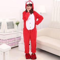 Velvet Hooded Autumn and Winter Cartoon Animal Cute Red Fox Onesies Pajamas Kigurumi Adult Sleepwear $44.50  #Lovejoynet #Animal #Sleepwear