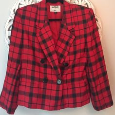Red Double Breasted Plaid Jacket Blazer 8 Red plaid double breasted jacket in size 8.  Looks great!  Priced to sell! Kasper Jackets & Coats Blazers