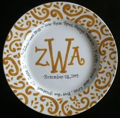 Personalized Monogrammed Plate  Wedding Gift by cutiepatooties1, $33.50
