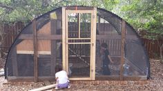 This one is easy! We had an old trampoline frame in the back yard. We just reconfigured the...