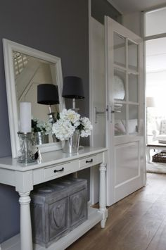 Mart Kleppe // the mirror is perfect! would be cool by the front door to open up the entry space/table. - Fox Home Design Hallway Inspiration, Interior Inspiration, Foyer Design, House Design, Hallway Decorating, Interior Decorating, Grey Hallway, Home Interior, Interior Design