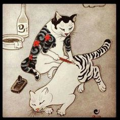 Japanese Tattoo Kitties.
