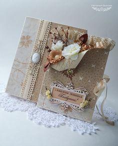 Купить открытка в коробочке«Для бабушки бежевая» - бежевый, открытка на день рождения, открытка на юбилей