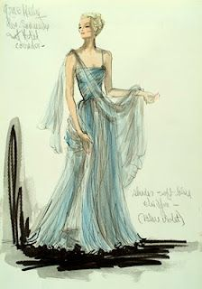 Costume sketch by Edit Head of the Grace Kelly gown in To Catch A Thief... I love everything Edith Head ever designed, particularly her stunning gowns for Grace Kelly in Rear Window...