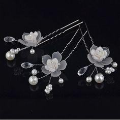 5 шт. красивый цветок белый свадебные шпильки ручной зажим для волос ювелирные изделия свадебные прически