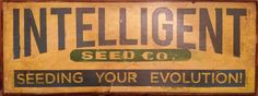 Retro Sign for Seed Company, Seeding Your Evolution 12 x 29 inch Painted Vintage Retro Poster Sign Art