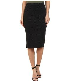 Free People Polka Dot Double Cloth Knit Ludlow Pencil Skirt Black - Zappos.com Free Shipping BOTH Ways