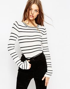 ASOS Striped Sweater in Stuctured Knit with Flared Sleeve