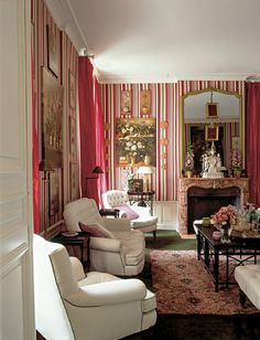 love the shades of pink & raspberry ~ French decorator Didier Haspeslagh's home in Chantilly