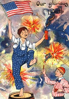 "Vintage ""Our Glorious Fourth"" postcard designed by G. Howard Hilder. (Via American University)"