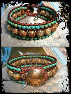 3 Row Brown Leather Bracelet with Agate Gemstones and Seed Beads  www.eyegotchacovered.info  #EGCdesign | #Love | #BohoChic | #SouthwestInspired