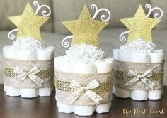The Posh Toosh Specialty Diaper Cakes make perfect baby shower centerpieces and décor, baby shower gifts, nursery décor, and a unique and practical gift for a mommy-to-be! ONE Single Tier Mini- Gold Lace Twinkle Twinkle Little Star Burlap Diaper Cake ~~~~~~~~~~~~~~~~~~~~~~~~~~~~~~~~~~~~~~~~~~~~~~~~~~~~~~~~~~~~~~~~~~~~~~~~~~~~~~~~~~ * This listing is for ONE mini cake * 8 size 1 Pamper Swaddlers (8-14lbs) * All diapers can be used after cake is unassembled * Measures approximately 9 tall by…